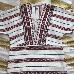 Boho Print Short Sleeve Lace Up Dress